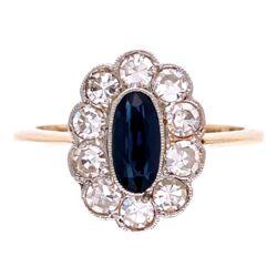 Closeup photo of Platinum on 18K Edwardian .85ct Oval Sapphire & .50tcw Diamond Ring, s7.5