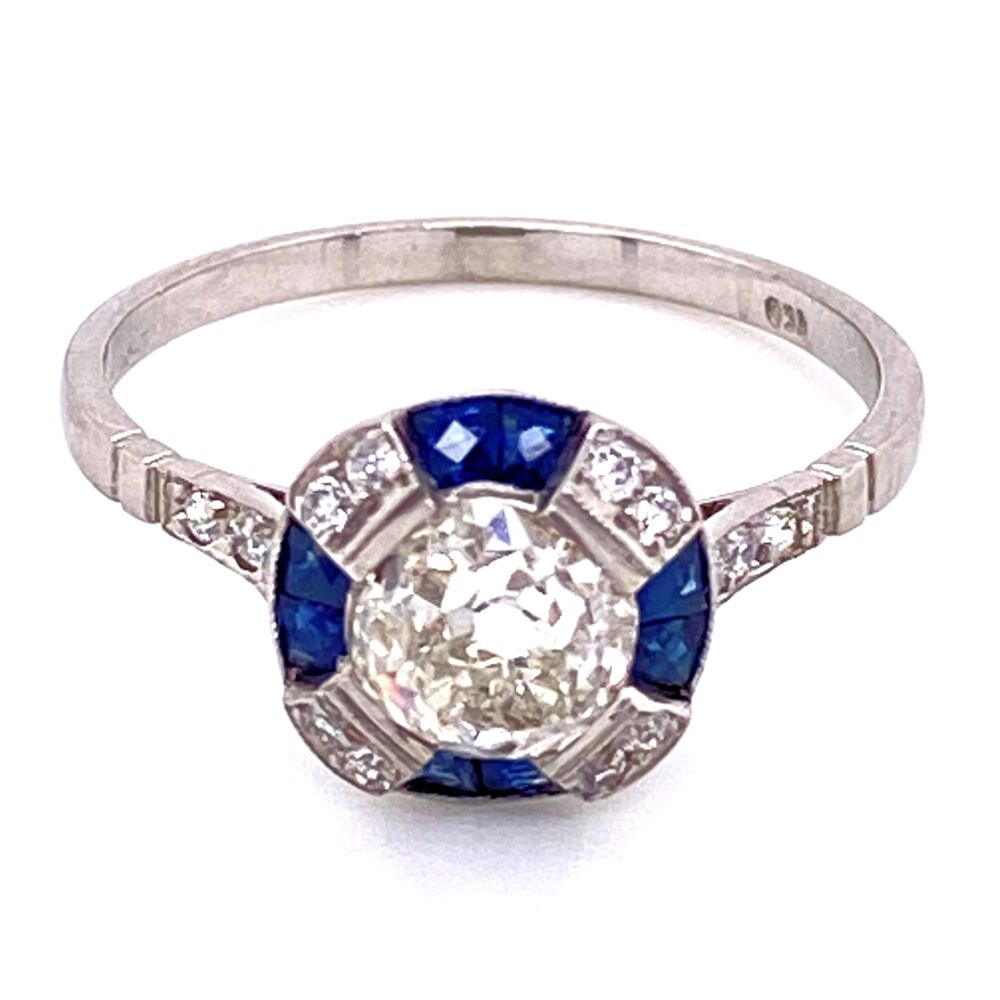 Image 2 for Platinum 1.22ct Old Mine Diamond & .44tcw Sapphire Ring, s7.5