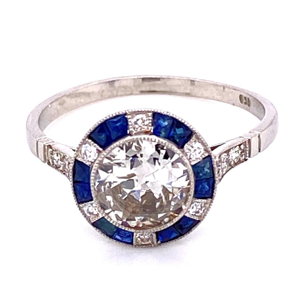 Platinum .98ct Round Diamond, .36tcw Sapphire & .18tcw Diamond Ring, s7.5