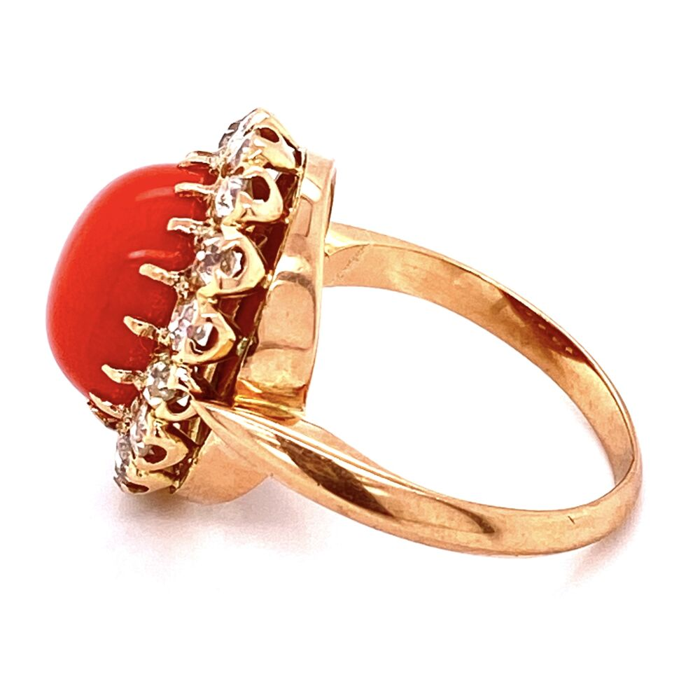 Image 2 for 18K YG Victorian 4ct Coral Cabochon & 1.40tcw Diamond Ring, s7.25