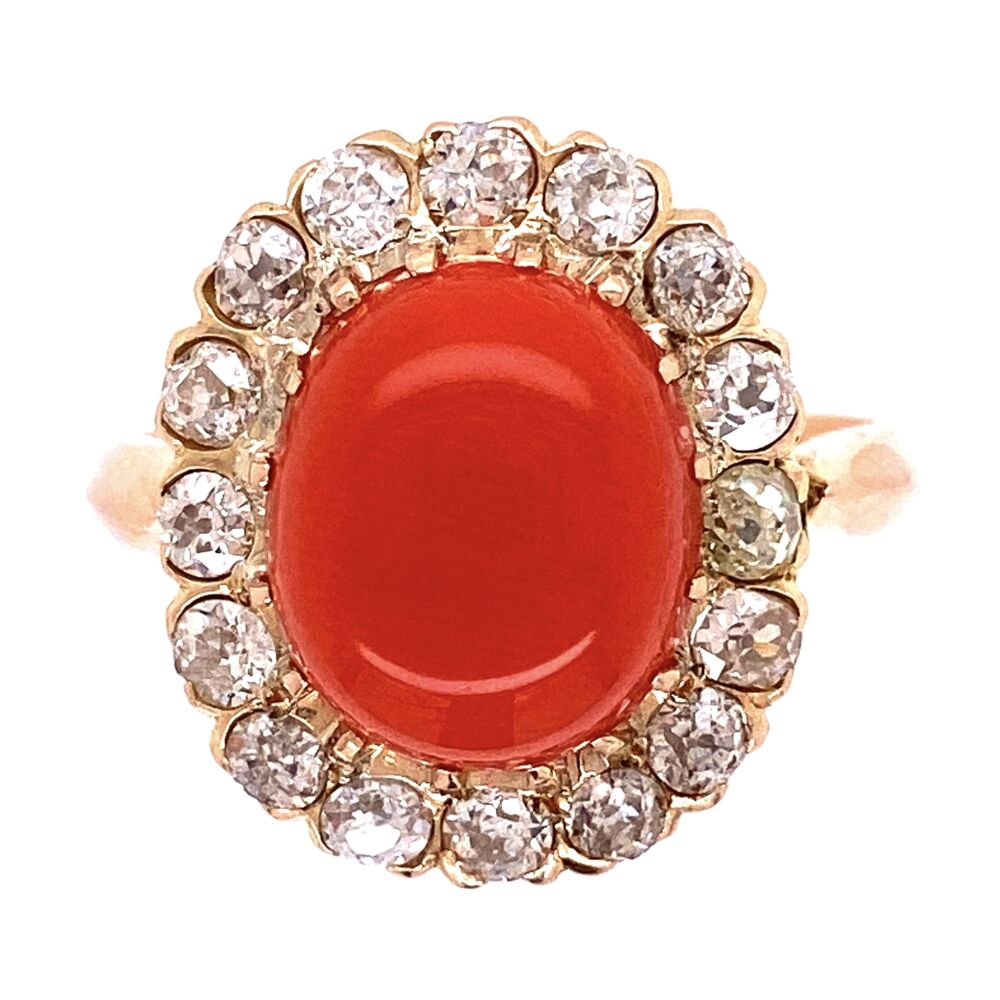 18K YG Victorian 4ct Coral Cabochon & 1.40tcw Diamond Ring, s7.25