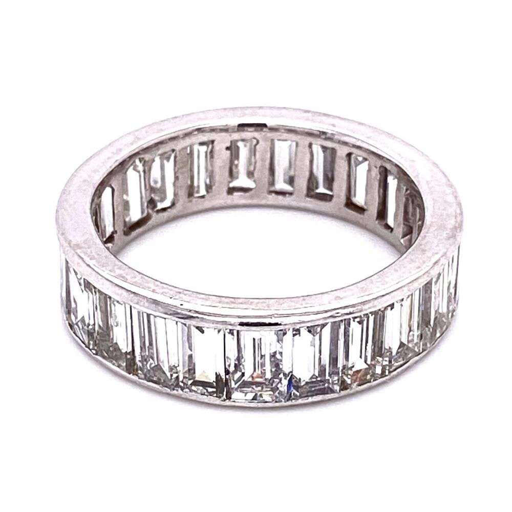Platinum Baguette Diamond Eternity Band Ring 5.50tcw, s8