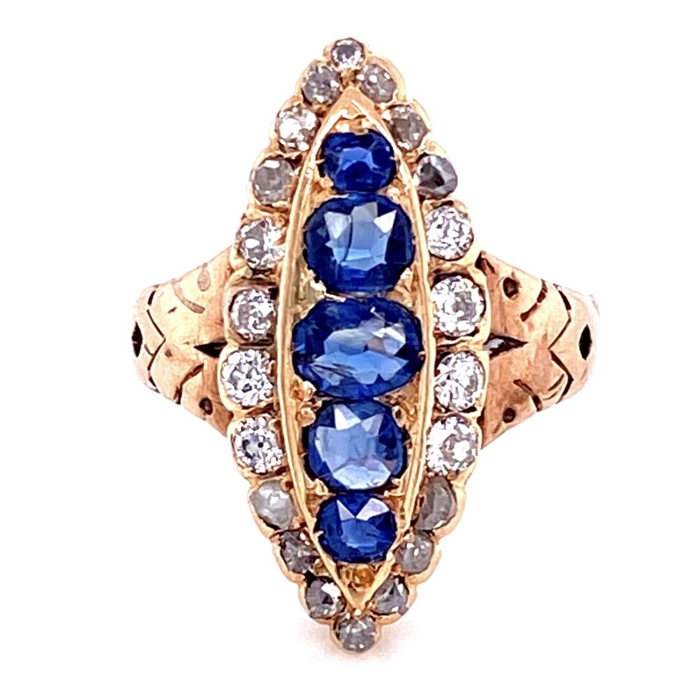 Image 2 for 14K YG Victorian Navette Ring, 1tcw Sapphire & 1tcw Diamonds, s6