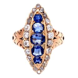Closeup photo of 14K YG Victorian Navette Ring, 1tcw Sapphire & 1tcw Diamonds, s6