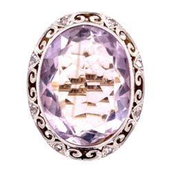 Closeup photo of 18K 2tone 12ct Oval Amethyst & .12tcw Diamond Ring, s6