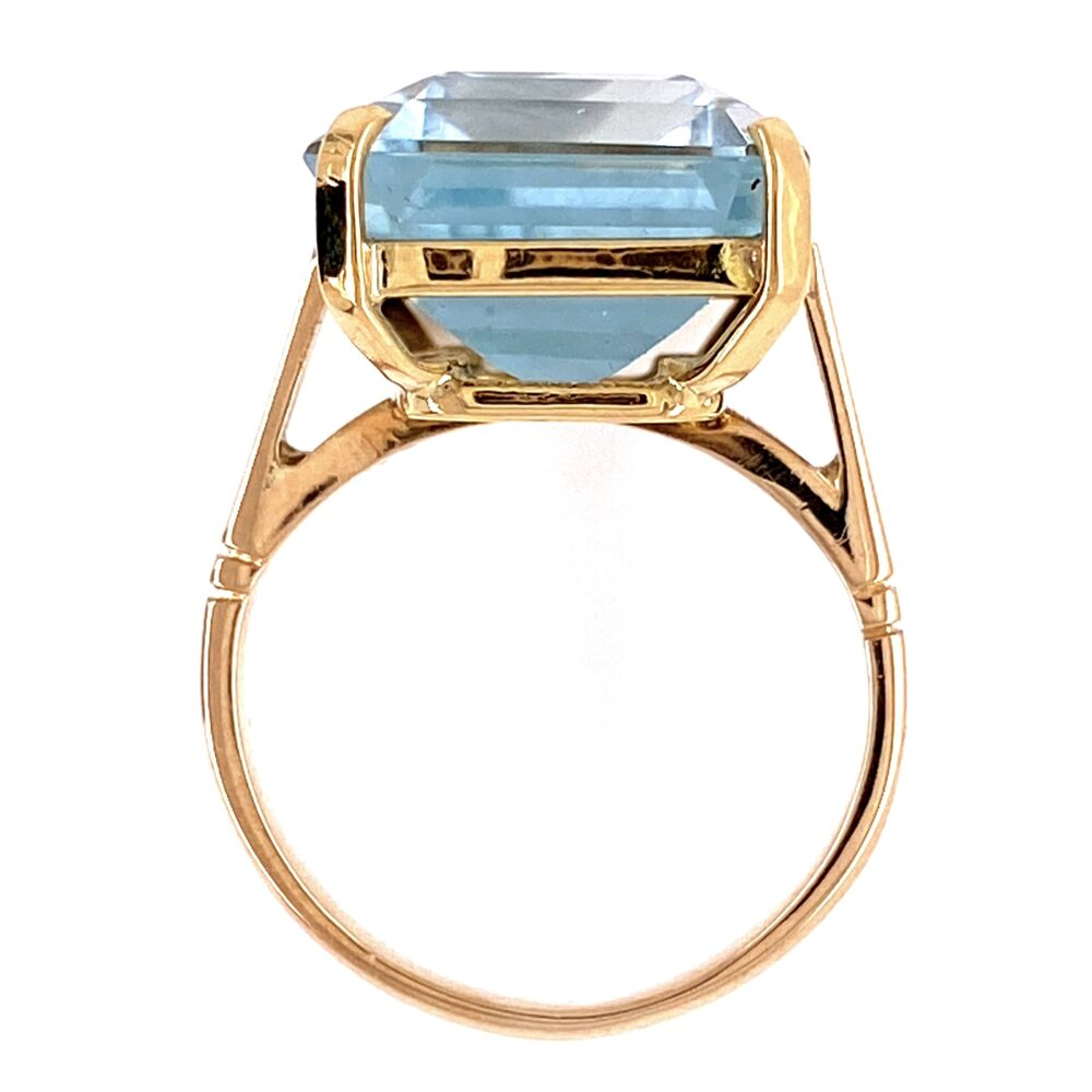 18K YG 12ct Aquamarine Solitaire Ring, s4.5