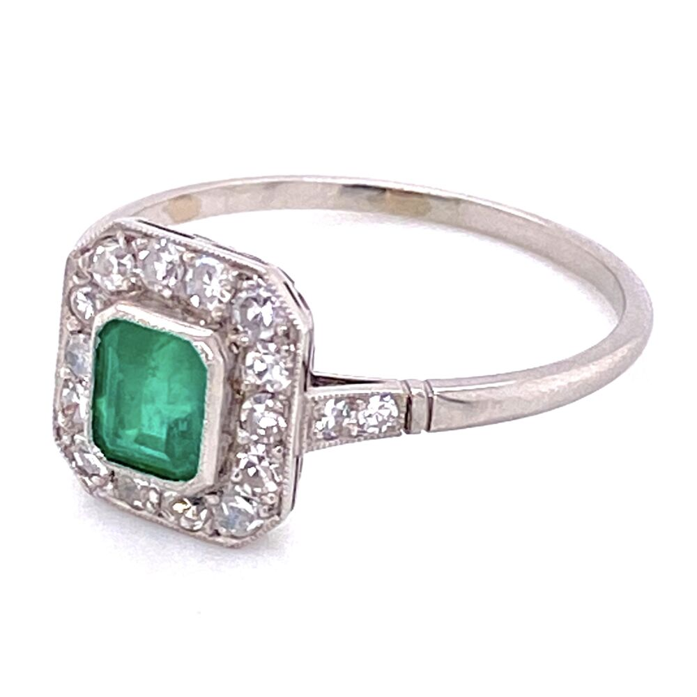 Platinum .58ct Emerald & .52tcw Diamond Ring, s8