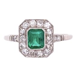 Closeup photo of Platinum .58ct Emerald & .52tcw Diamond Ring, s8