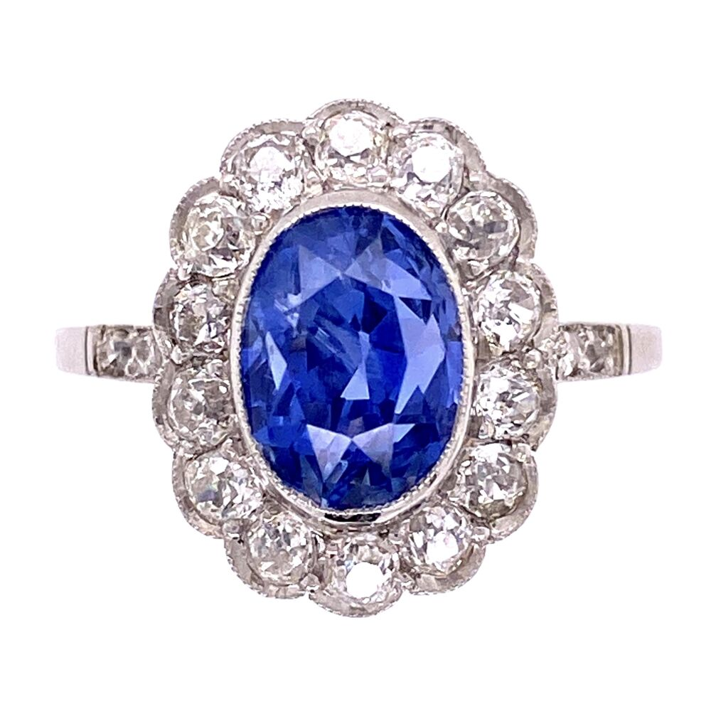Platinum 3.65ct Oval Sapphire & 1.36tcw Ring, s7