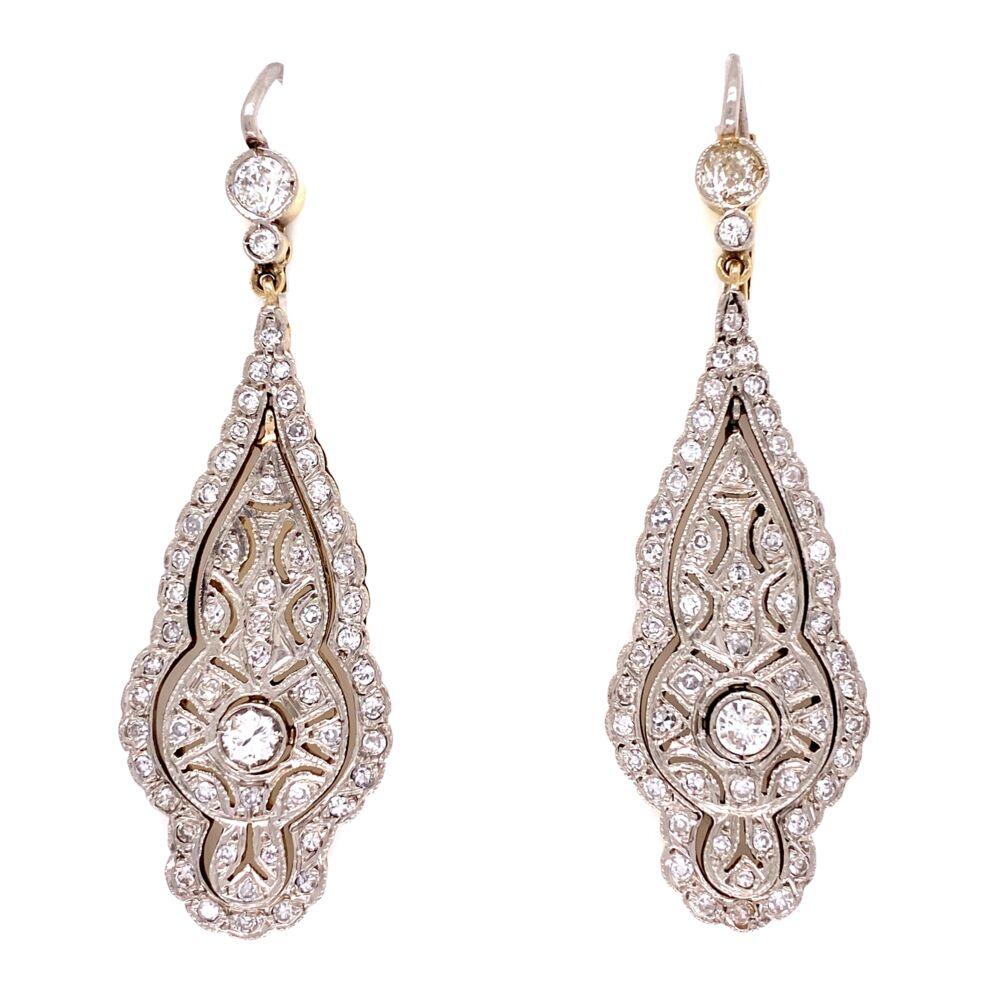 """Platinum on 18K Edwardian 1.20tcw Diamond Drop Earrings, 2"""""""