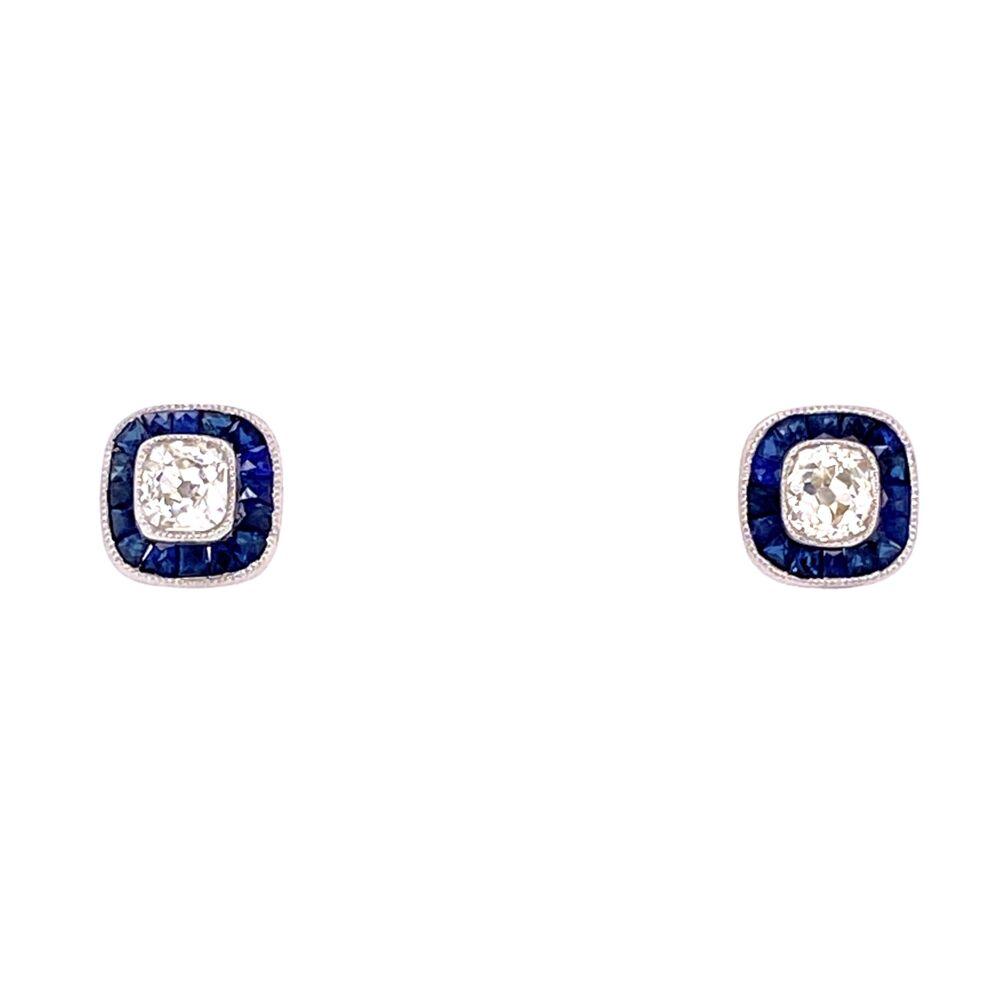 Art Deco Cushion Cut Diamond Studs with Sapphire Studs