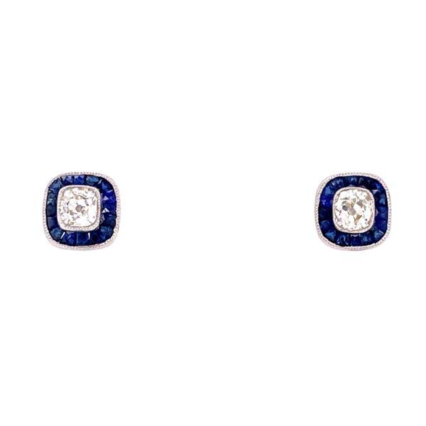 Closeup photo of Art Deco Cushion Cut Diamond Studs with Sapphire Studs