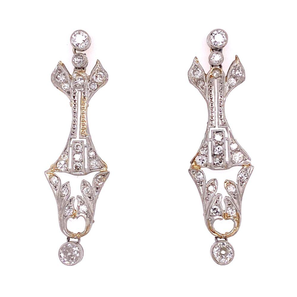 "Platinum Art Deco 1.50tcw Diamond Earrings, 1.5"" Tall"
