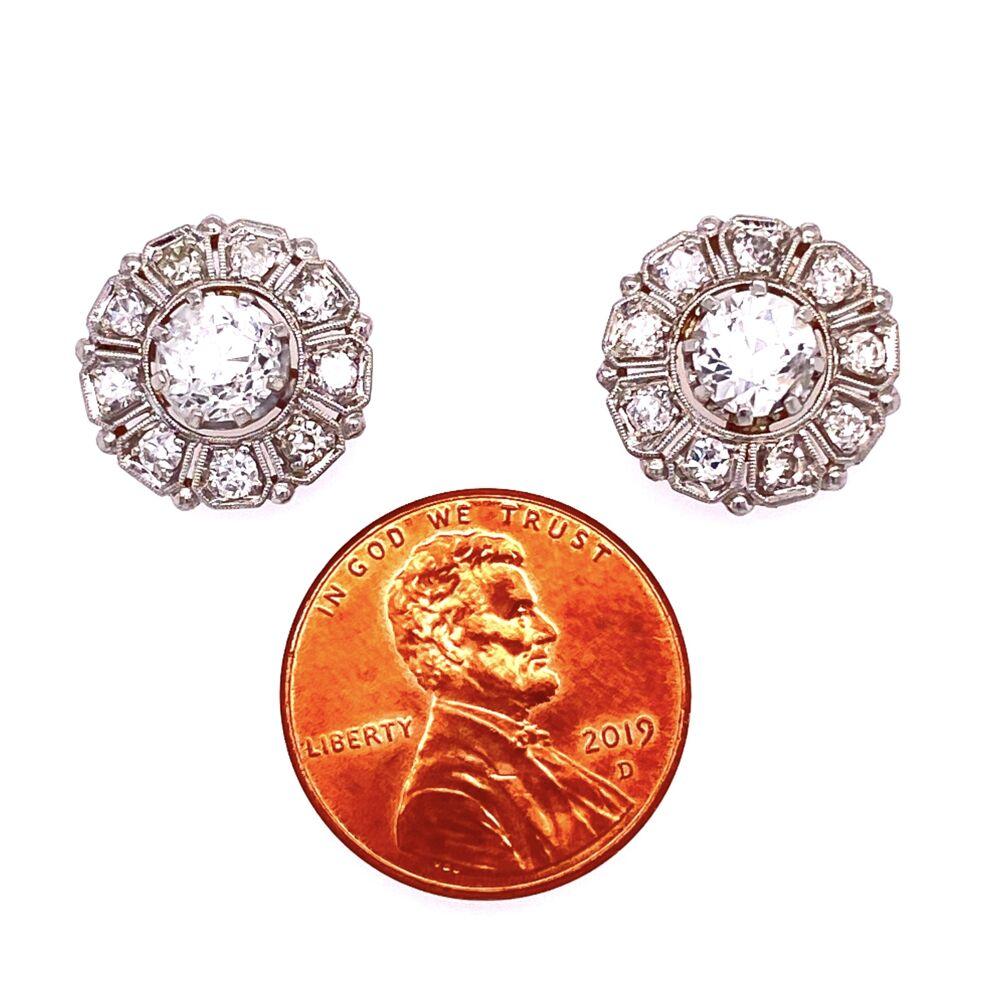 Image 2 for Platinum 1tcw OEC Diamond Earring Studs with .72tcw diamonds
