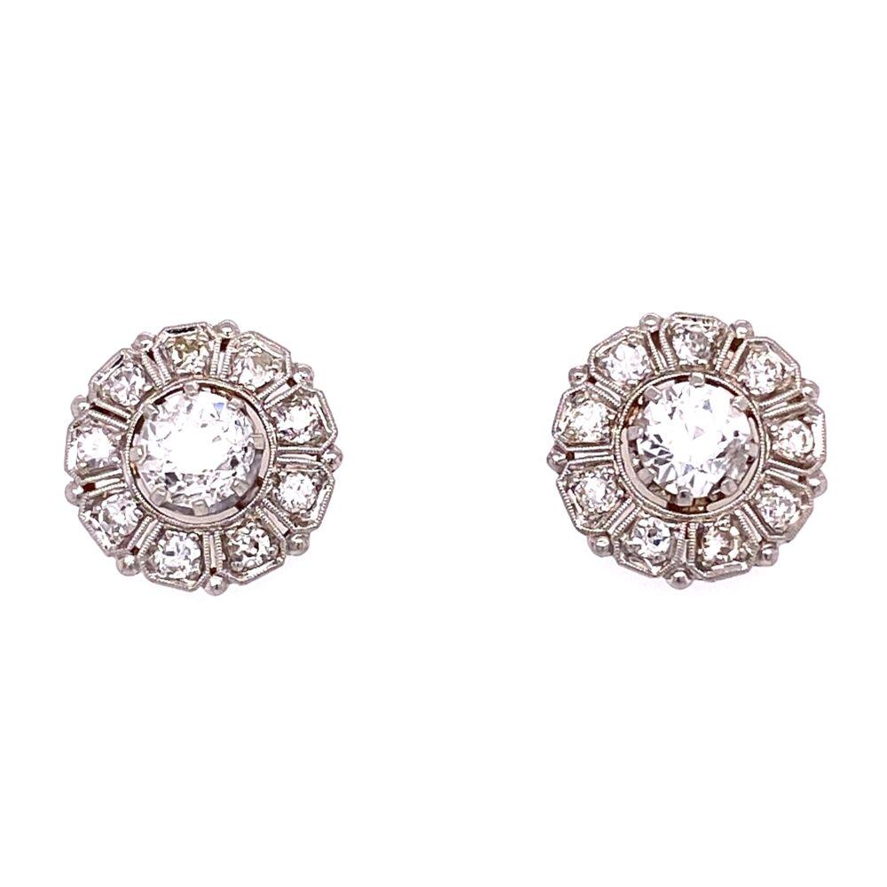 Platinum 1tcw OEC Diamond Earring Studs with .72tcw diamonds