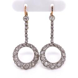 "Closeup photo of Platinum & 18K Open Circle Diamond Drop Filigree Earrings 2.00tcw, 1.75"" Tall"