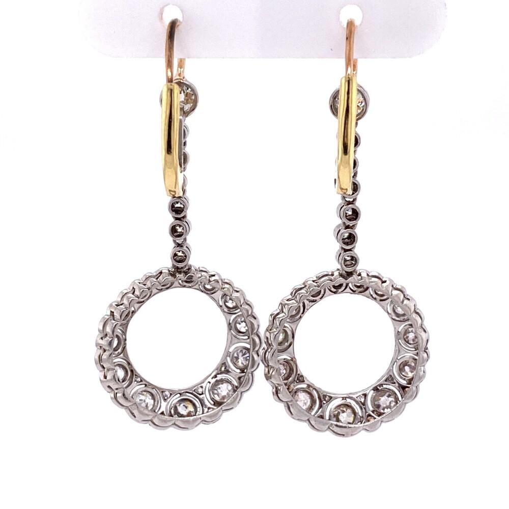 "Platinum & 18K Open Circle Diamond Drop Filigree Earrings 2.00tcw, 1.75"" Tall"