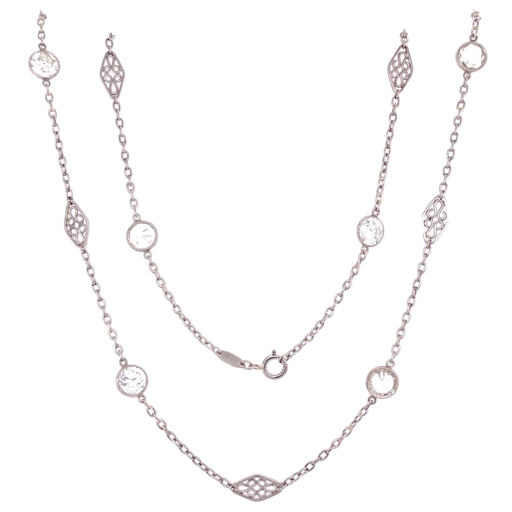 "Platinum Diamonds by the Yard Chain 8 Diamonds 4.42tcw, 20"""