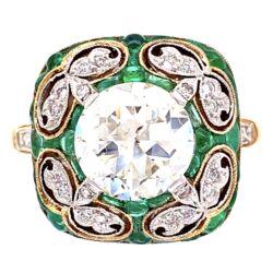 Closeup photo of Platinum & 18K YG 2.01ct OEC Diamond & 1tcw Buff top Emerald Ring, s6