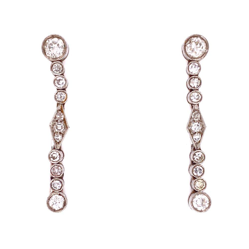 Platinum Art Deco 1.15tcw Diamond Drop Earrings, 1.25in Long