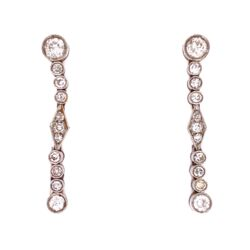 Closeup photo of Platinum Art Deco 1.15tcw Diamond Drop Earrings, 1.25in Long