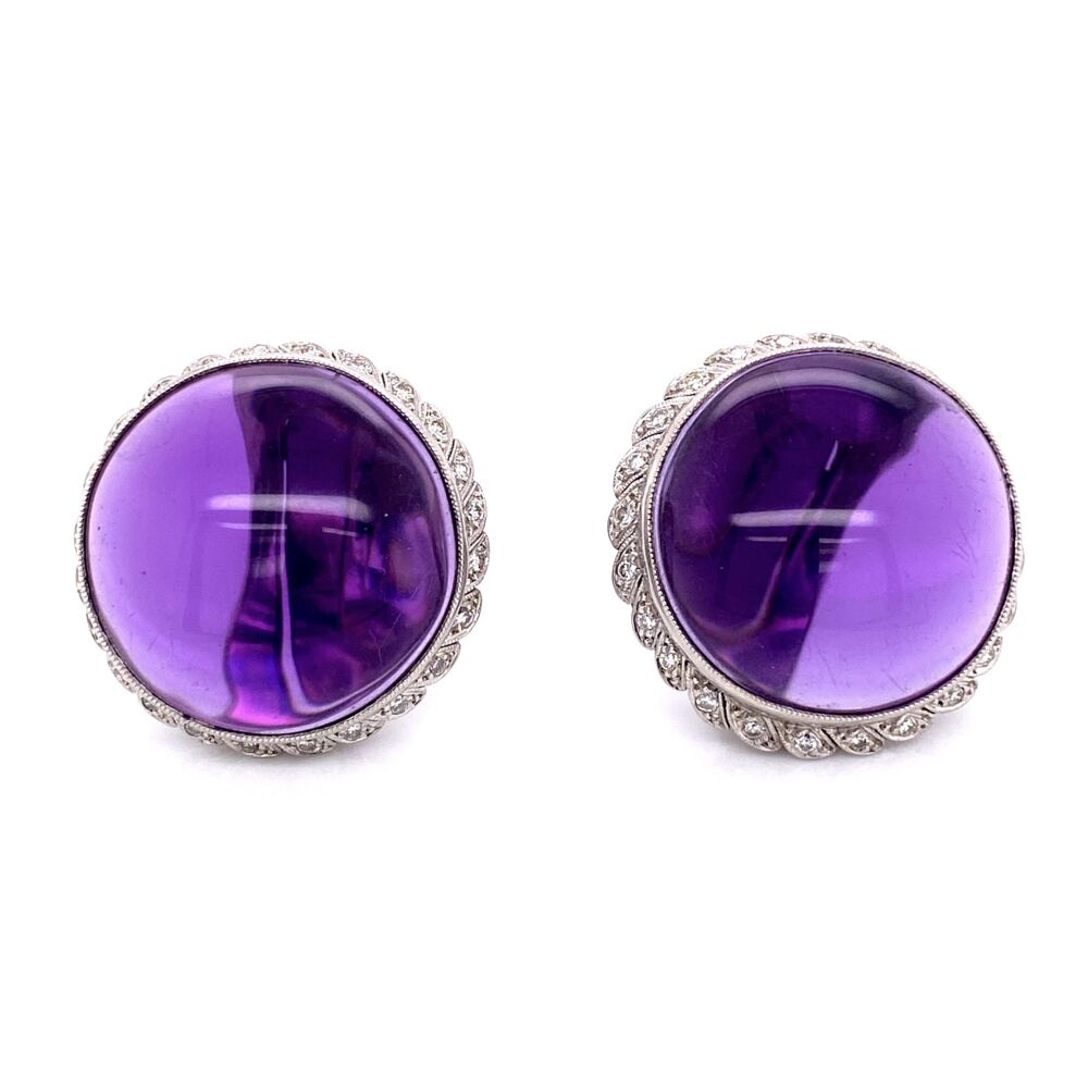 Platinum 50tw Smooth Amethyst & 1.00tcw Diamond Clip Earrings, 32.6g, 1.25in Diameter