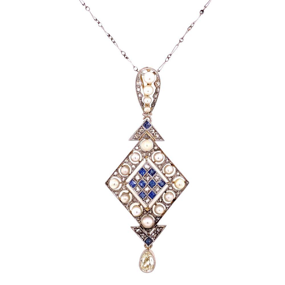 "Platinum on 18K Edwardian Pearl, Sapphire & 1.10tcw Diamond Drop Necklace, 16"""