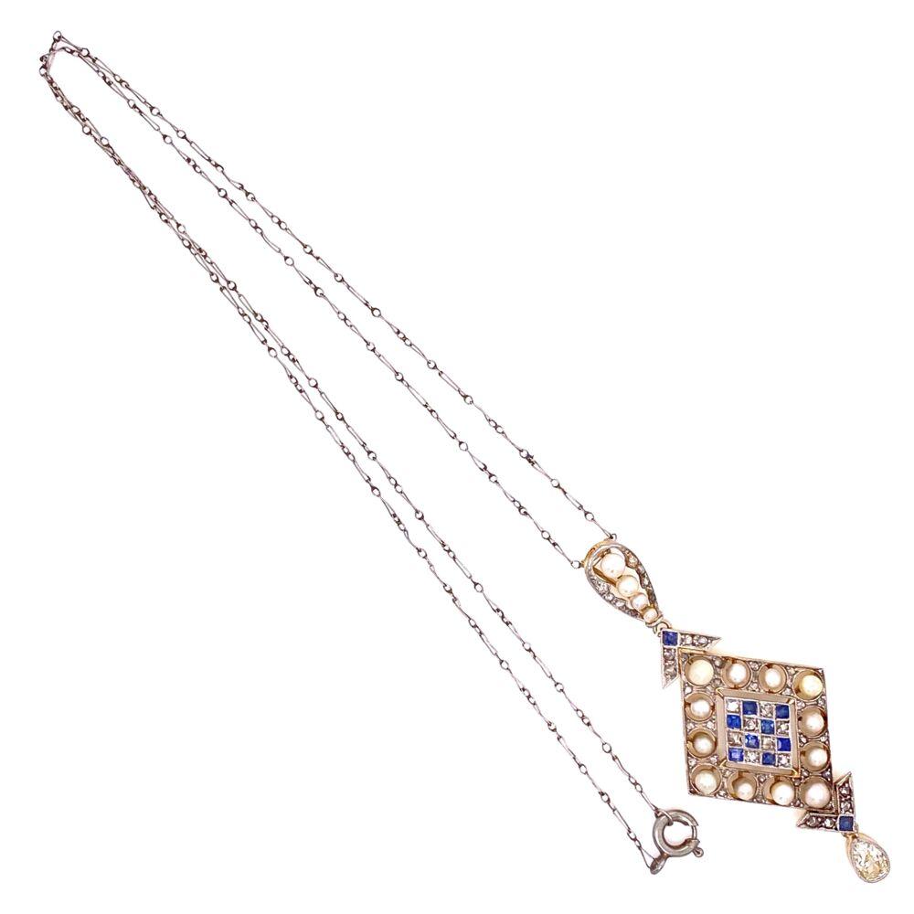 "Image 2 for Platinum on 18K Edwardian Pearl, Sapphire & 1.10tcw Diamond Drop Necklace, 16"""