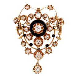 "Closeup photo of 18K YG Victorian Brooch 3.50tcw Diamond & Enamel Brooch Pendant 2.25"" Tall"