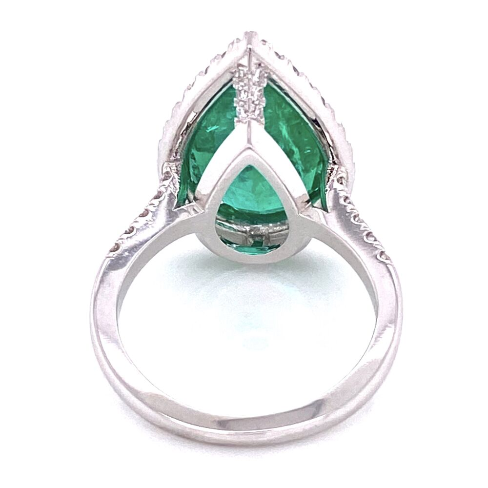 Image 2 for 18K White Gold 6.96ct Pear Shape Emerald & .85tcw Diamond Ring, s7
