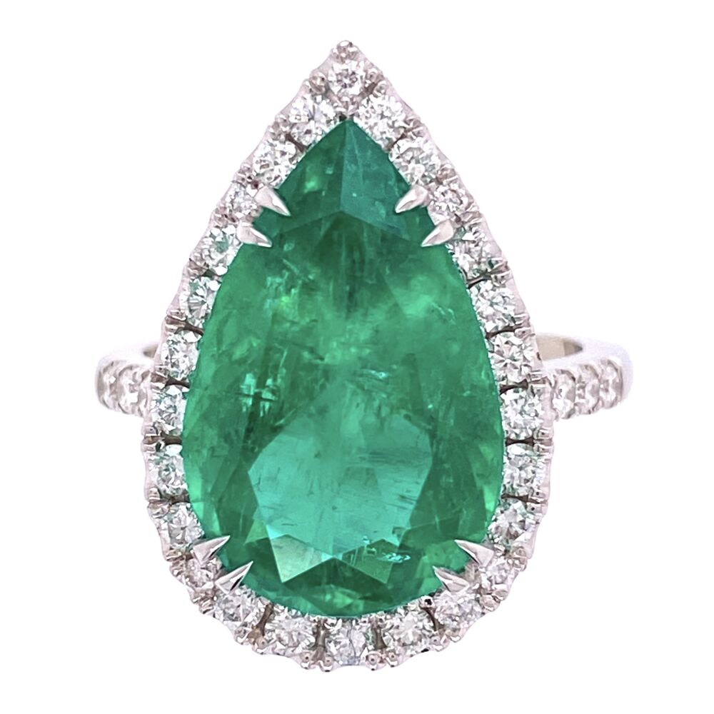 18K White Gold 6.96ct Pear Shape Emerald & .85tcw Diamond Ring, s7