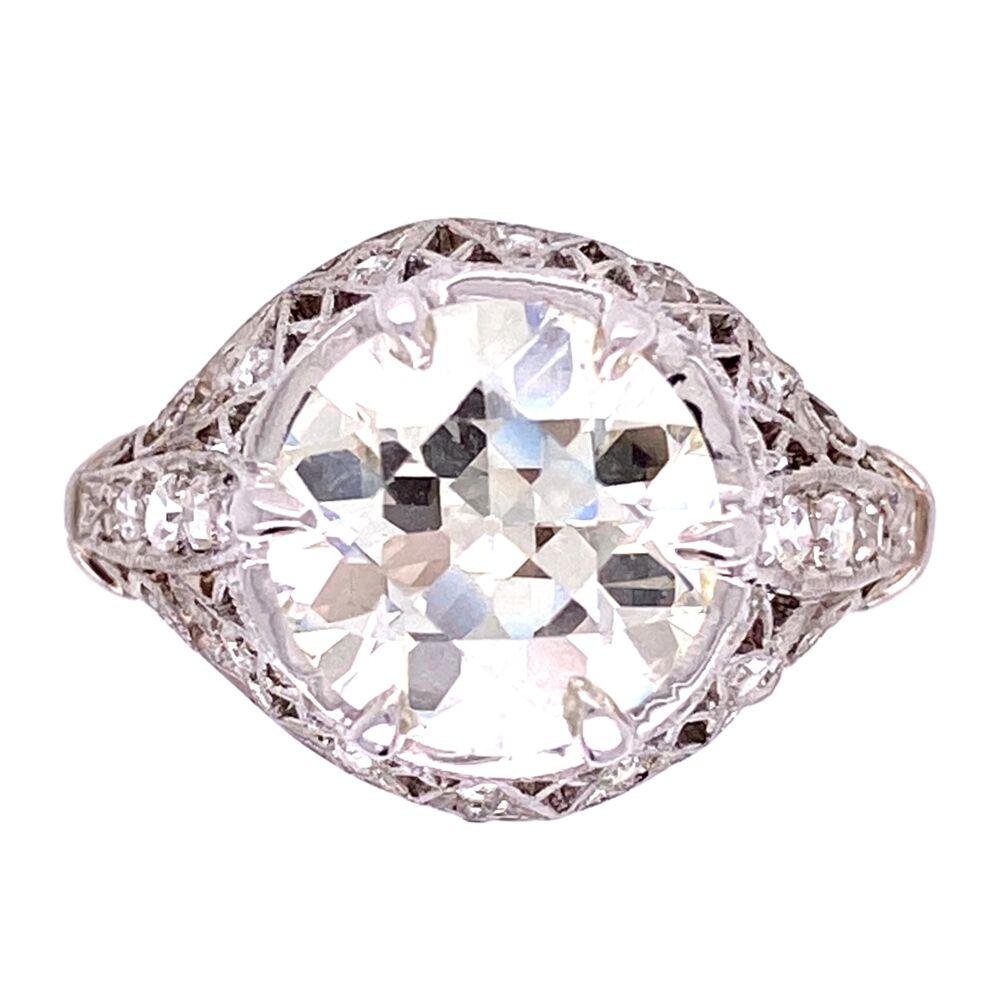 Platinum 2.91ct Old European Cut Diamond Ring GIA, .34tcw diamonds, s6