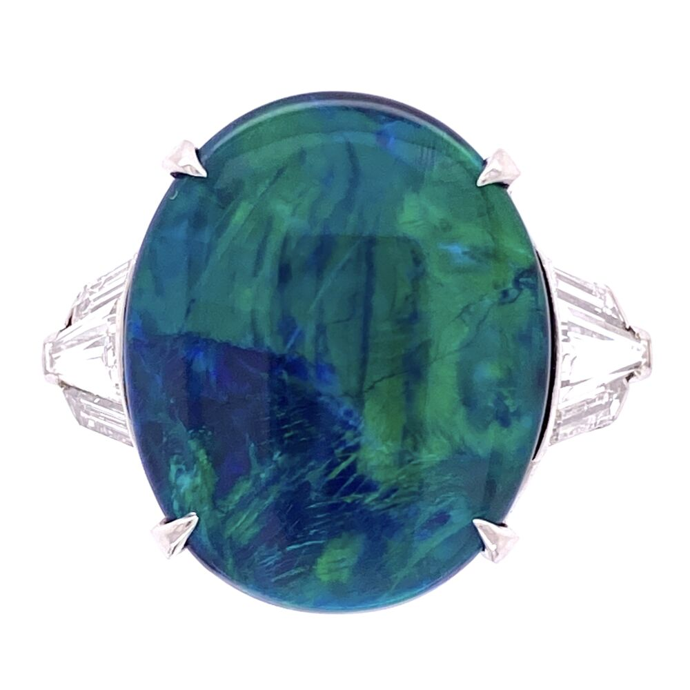 Platinum 5.80ct Black Opal & 1.00tcw Diamond Ring, s7