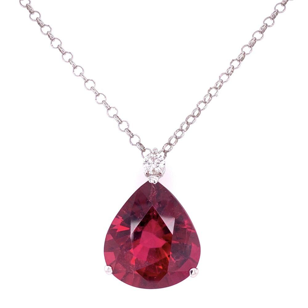 "Platinum 21.02ct Pear Rubellite Tourmaline & .30ct Diamond Drop Necklace 18"""