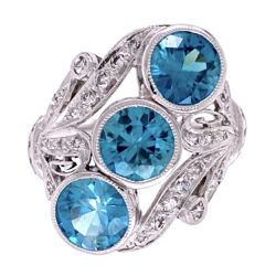 Closeup photo of Platinum Art Deco 5.31tcw Blue Zircon & .64tcw Diamond Navette Ring, s7.5