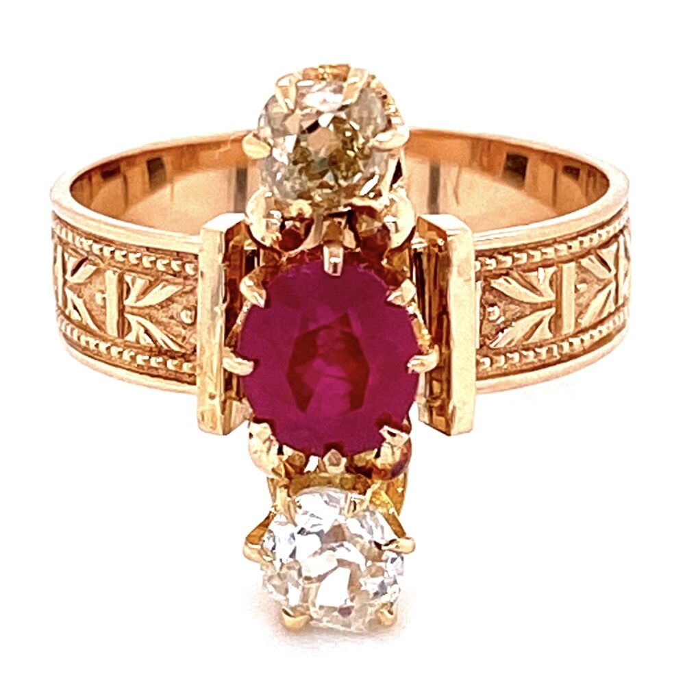 18K YG Victorian 1.30ct Burma Ruby & .75tcw Diamond Ring