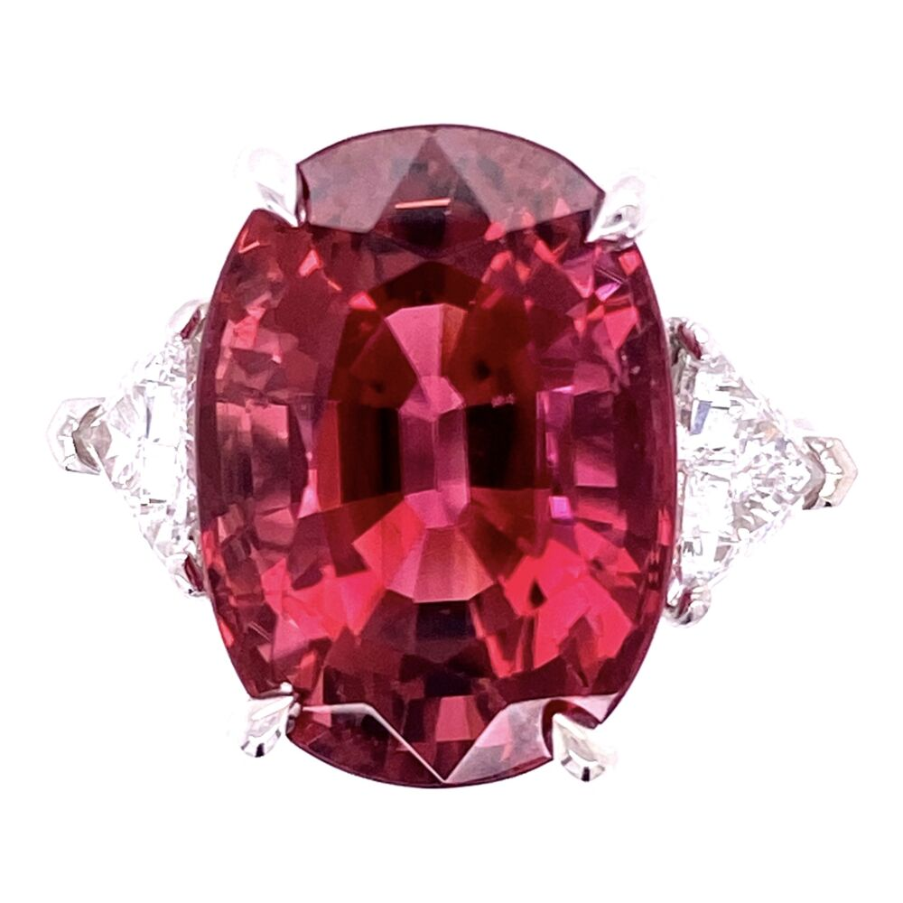 Platinum 11.31ct Rubellite Tourmaline & .98tcw Diamond Ring, 6.5
