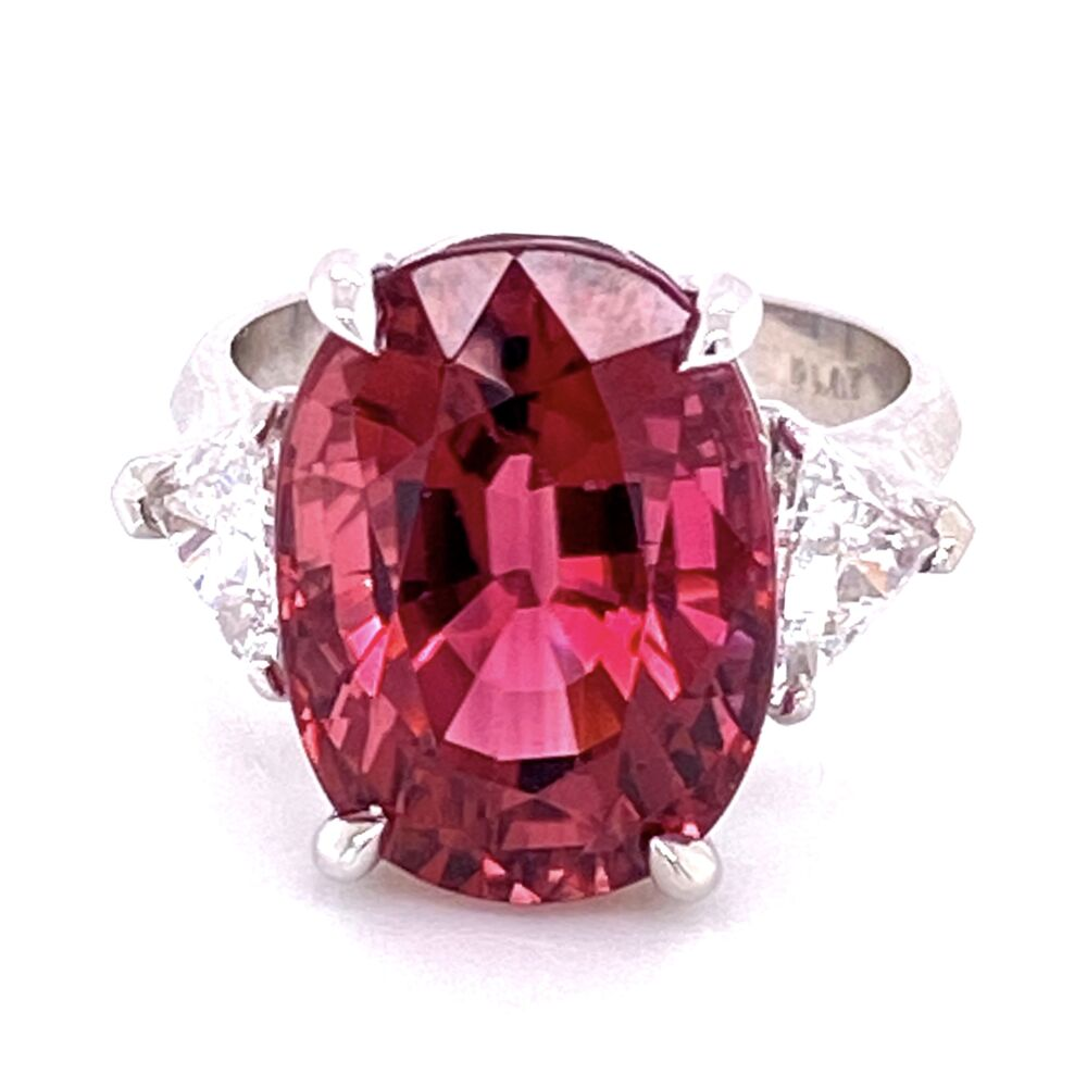 Image 2 for Platinum 11.31ct Rubellite Tourmaline & .98tcw Diamond Ring, 6.5