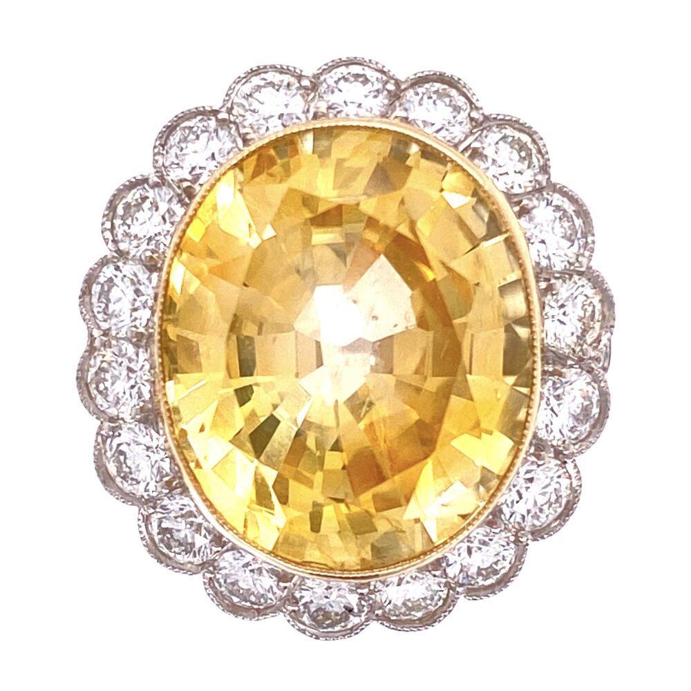 Platinum Art Deco 14.38ct Oval Yellow Sapphire GIA & 2.40tcw Diamond Ring, s6.5