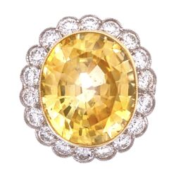 Closeup photo of Platinum Art Deco 14.38ct Oval Yellow Sapphire GIA & 2.40tcw Diamond Ring, s6.5