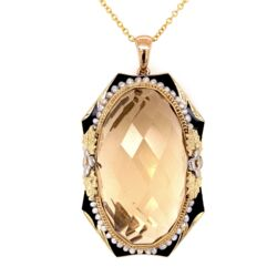Closeup photo of 14K YG Victorian 40ct Citrine, Seed Pearl & Enamel Pendant 16""