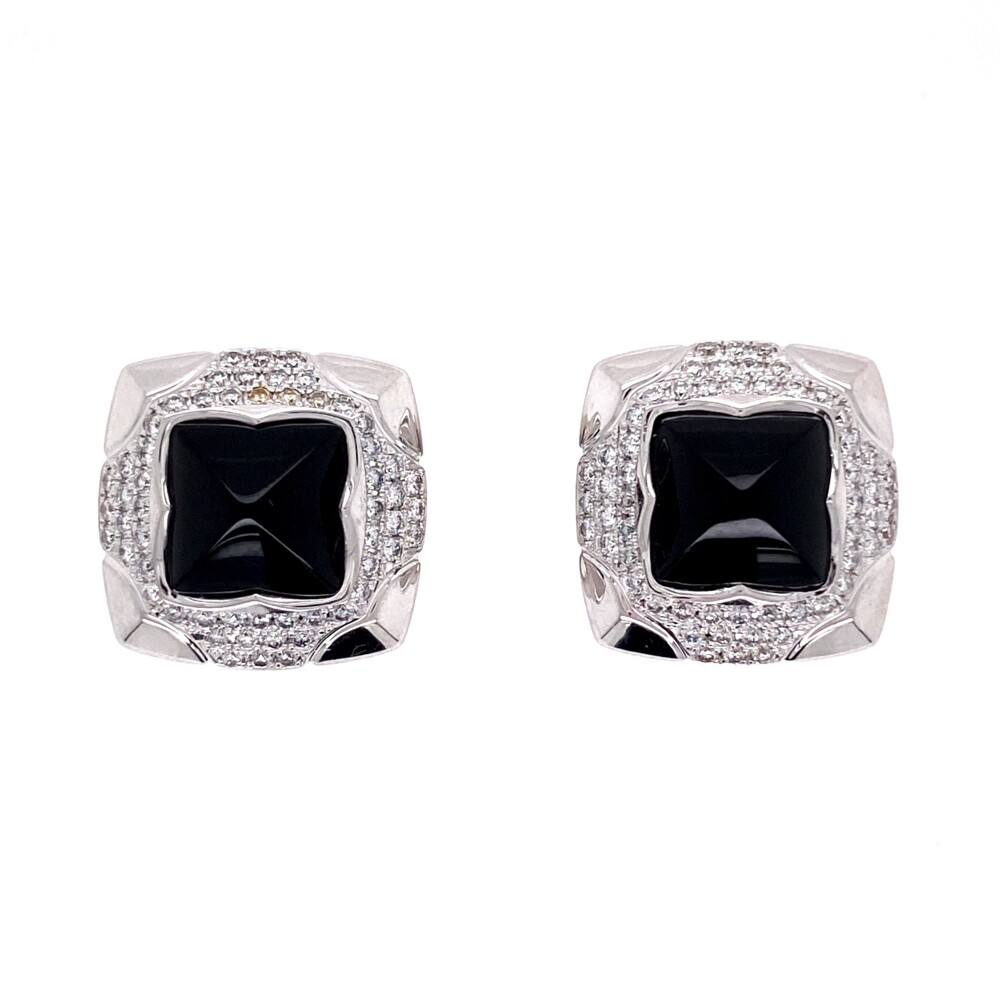 Image 2 for 18K WG Sugarloaf Onyx & .60tcw Diamond BVLGARI Earrings, 10.6g