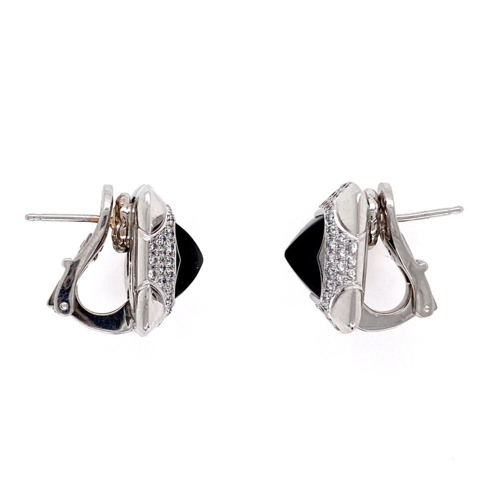 18K WG Sugarloaf Onyx & .60tcw Diamond BVLGARI Earrings, 10.6g