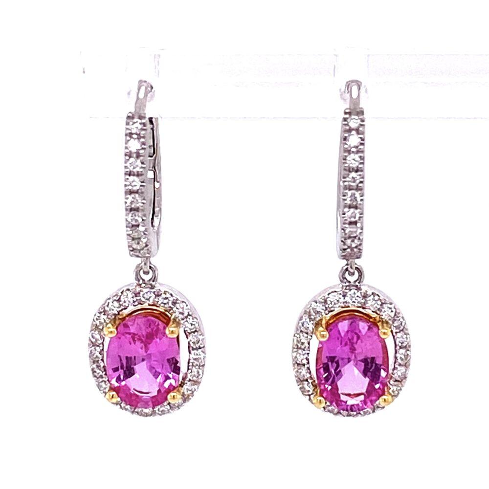 18K WG 2.10tcw Oval Pink Sapphire & .40tcw Diamond Earrings