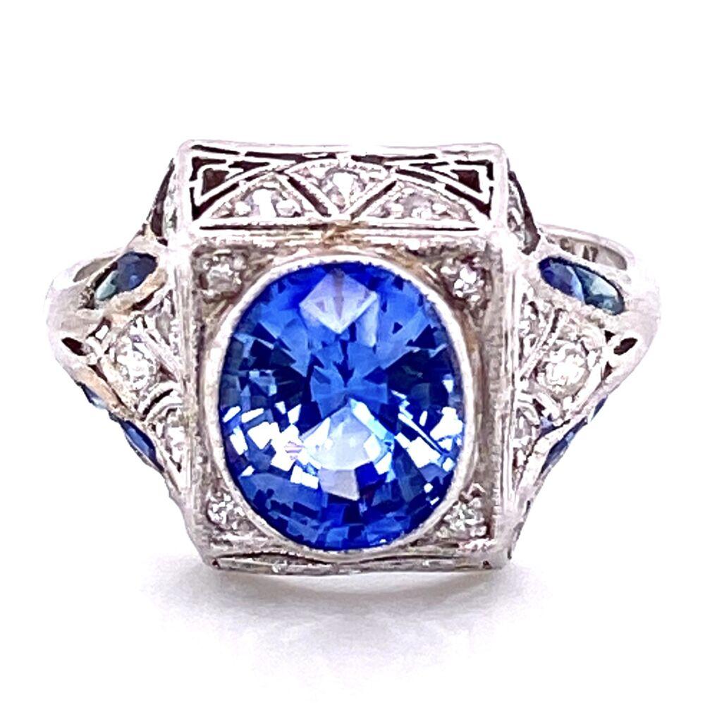 Platinum Art Deco 2.11ct Oval Unheated Sapphire & .32tcw Diamond Ring, s6.5