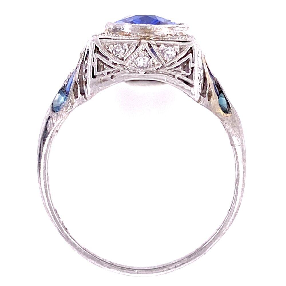Image 2 for Platinum Art Deco 2.11ct Oval Unheated Sapphire & .32tcw Diamond Ring, s6.5