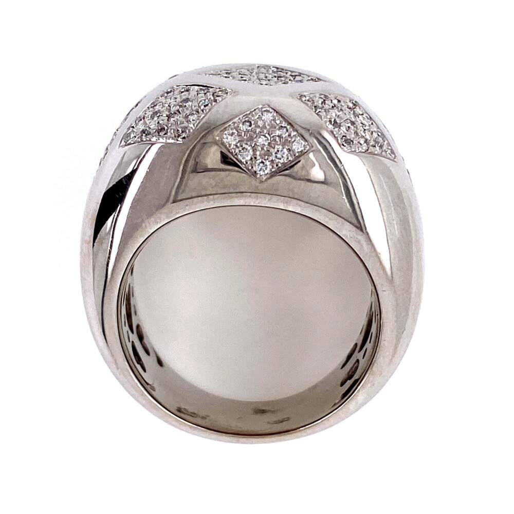 18K WG Dome Design Pave Diamond Ring .80tcw 18.3g, s7.5