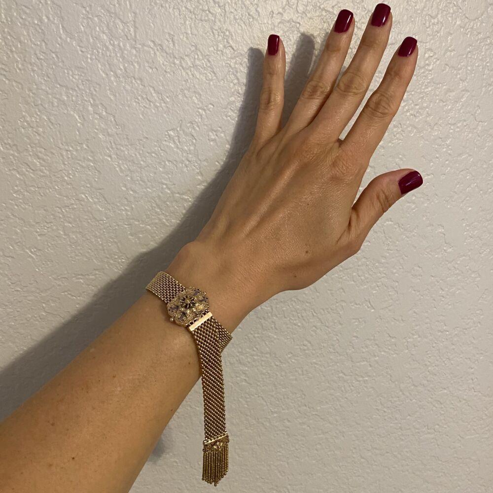 "12-10K Victorian Slide Bracelet 37.8g, 5-8.5"""