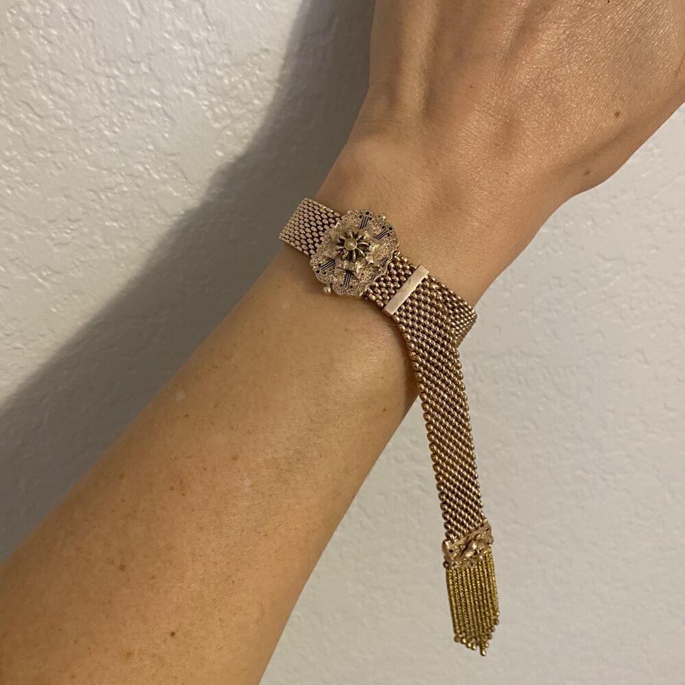 """Image 2 for 12-10K Victorian Slide Bracelet 37.8g, 5-8.5"""""""