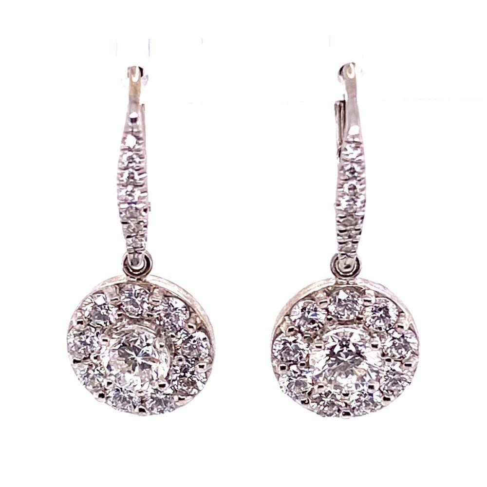 """18K WG 2.09tcw Cluster Diamond Earrings, 1"""" tall"""